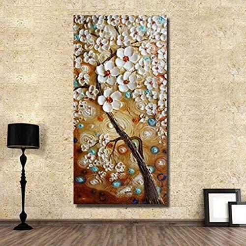 ZXMPGYH Malen Handgeschilderde Abstract MES Witte Bloemen Olieverfschilderij Grote Wandkunst Bilder Acryl Bloemen Schilderijen Voor Gang