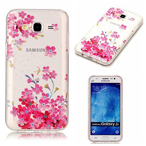 Coque Pour Samsung Galaxy J5 2015,Coffeetreehouse Motif soft coloré de motif imprimé transparent mince TPU Protecteur Case Pour Samsung Galaxy J5 2015(Design Les fleurs rouges)