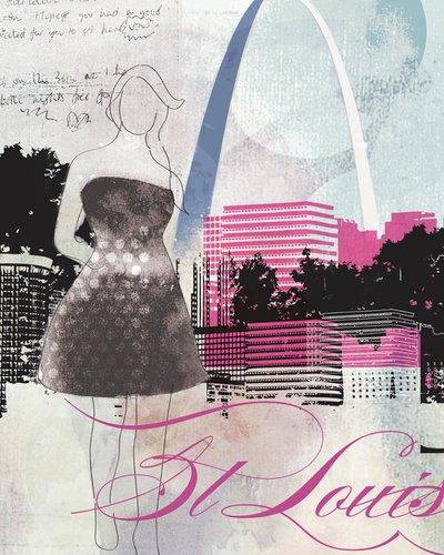 Wheatpaste Art colectiva Ciudad Chica St. Louis por Natalie Alexander Lienzo, 24por 76,2cm
