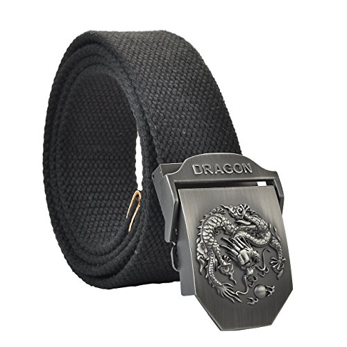 Faleto Herren Militär Gürtel Stoffgürtel mit Drache Schnalle Leinwand Canvas Jeansgürtel Belts 125cm + Original Geschenkbox(Schwarz Streifen)