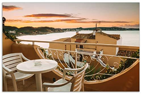 Wallario Herdabdeckplatte/Spritzschutz aus Glas, 1-teilig, 80x52cm, für Ceran- und Induktionsherde, Motiv Sommer in Spanien - Ausblick von Einer schönen Terrasse auf das Meer - Land Terrasse