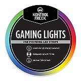 Kontrolfreek Gaming-Lichter: LED-Lichtstreifen, 2,7 m, USB betrieben mit Controller, 3M-Kleber für TV, Konsole, Wand