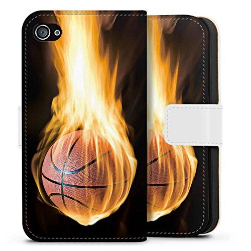 Apple iPhone X Silikon Hülle Case Schutzhülle Basketball Feuer Flammen Sideflip Tasche weiß