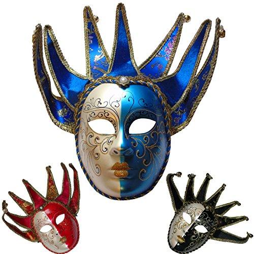 S2/Venezianische Maske Jocker. Zeichen Spitze-Stift Glöckchen. Blau und (Masken Masquarade)