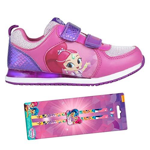 Shimmer and Shine - Zapatillas Deportivas con Luz - Cierre de Velcro, Deportivas Shimmer & Shine Led Color Fucsia y Morado + Set de papelería de Regalo (30 EU)