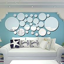 Acrílico Adhesivos De Pared Circular Combinación Espejo Azulejos Dormitorio Sala De Estar Decoración,Silver