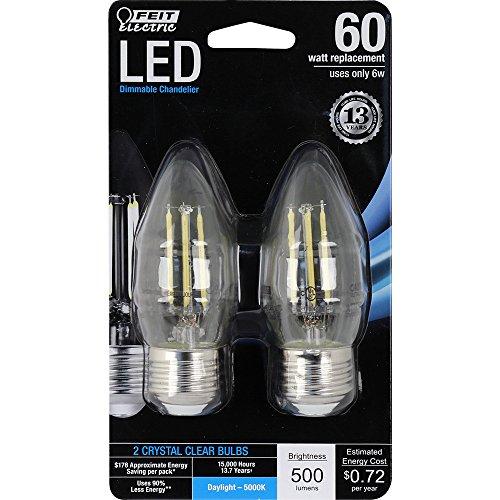 Feit Energiesparlampe Elektrische bpetc60/850/LED/2entspricht 60W klar Tageslicht Dimmbar Kronleuchter Stumpfe Spitze Med base LED Leuchtmittel (2Pack) -