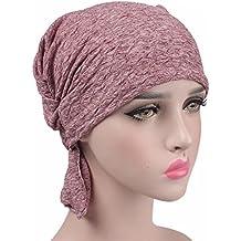 kingnew Chemo Cancer Pañuelo Gorro Para turbante Headwear Mujer Mujer Ruffle Beanie bufanda de rojos granos