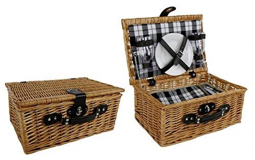 Klassischer Picknick Korb inkl. Geschirr (für 2 Personen) - Picknickkorb Weide braun