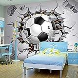 GMYANBZ Carta da Parati stereoscopica 3D della Foto per Il Fondo murale della Stanza della lettiera della Parete Rotto Moderno Creativo del Calcio della Stanza