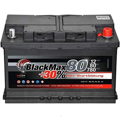 Autobatterie 80Ah 12V BlackMax +30{248beac0111b30389f35a6ddd62e7d6fd25b8cda3b96e44a06756d1f4e860c43} mehr Leistung Starterbatterie ersetzt 72Ah 74Ah