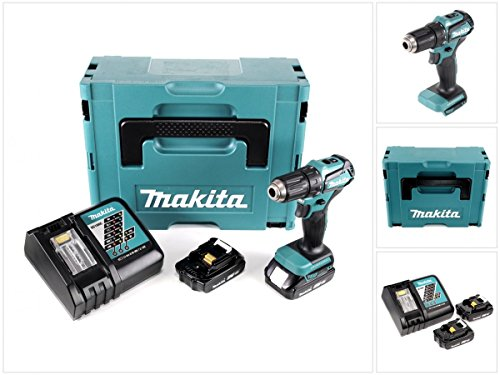 Preisvergleich Produktbild Makita DDF 483 RYJ 18 V Akku Bohrschrauber Bürstenlos Brushless im Makpac + 2x BL 1820 2,0 Ah Akku + DC18RC Ladegerät