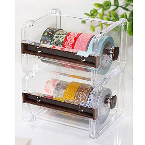 2 homdsim Washi Tape Dispenser Cutter, Rolle Tape Holder Organizer, Abdeckband Desktop Tape DIY Aufkleber Rolle Tape Cutter Halter Aufbewahrung braun