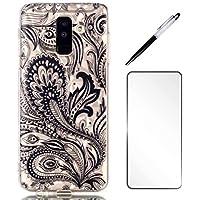 Samsung Galaxy A6 Plus 2018 Hülle LaiXin Schutzhülle Case Cover Transparente felxible TPU Silikon Handyhülle Kristall Schutz Handy Tasche Crystal Touchstift+Displayschutzfolie-Schwarzer Mandala