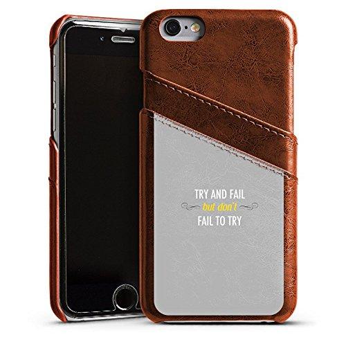 Apple iPhone 5s Housse Outdoor Étui militaire Coque Motivation Déclaration Phrases Étui en cuir marron