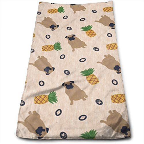 OQUYCZ Primitive Pug and Pineapple Multi-Purpose Microfiber Towel Ultra Compact Super Absorbent and Fast Drying Sports Towel Travel Towel Beach Towel Perfect for Camping, Gym, Swimming. -