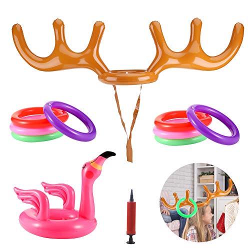 SwirlColor Hut Flamingo, Arentier Aufblasba Weihnachtsspielzeug für Kinder Lustiges Aufblasbares Wurfspielzeug für Party-Geburtstags-Schule-Pool-Haus 2pcs, mit Aufblasbaren Ringen 8 PC, Inflator 1pcs