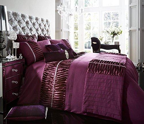Hendem® Alina Aubergine Pleated panel Duvet Quilt Cover Modern Luxury Bedroom Bed Linen with Pillow Case (Bed Runner)