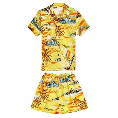 Boy-Hawaiian-Aloha-Luau-camisa-y-pantalones-cortos-de-2-piezas-cabaa-conjunto-en-mapa-amarillo-y-surfista-4