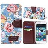 iphone 6 caso, i phone 6s caso, annata blu fiore capovolgere jacquard pelle Due carta slot caso con magnetico TPU per i phone 6 6S