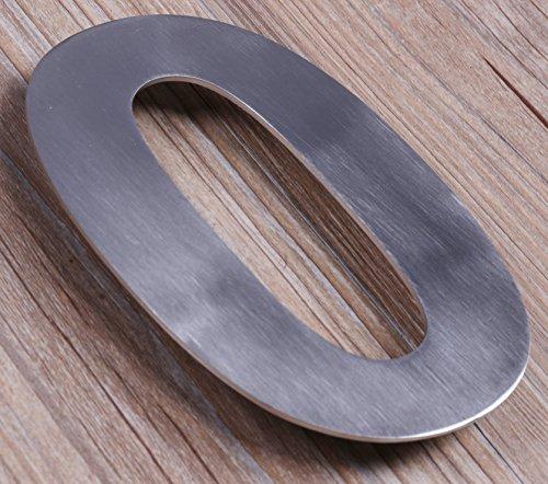Qt moderno piccolo-Numero civico 4, colore acciaio spazzolato (numero 0ZERO), dimensioni compatte, galleggiante aspetto, facile (Kit Targa Hardware)
