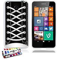 Muzzano F1591500 Casperia Originale Cover Bianco, Ultra sottile e lucido con scarpe da ginnastica nero-Motivo per Nokia Lumia 635
