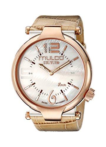 Mulco Women's MW5-3183-113 Couture Slim Analog Display Swiss Quartz Beige Watch