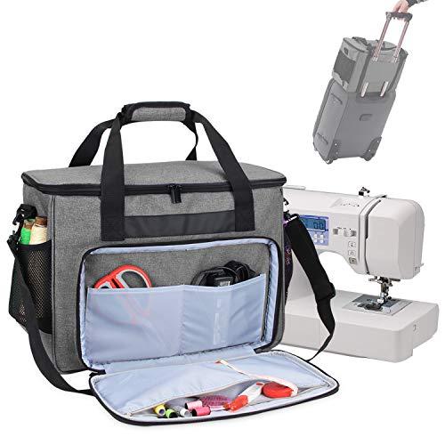 Teamoy Sac pour Machine à Coudre, Sac de Transport de Machine à Coudre pour Machines à Coudre domestiques ordinaires et Accessoires, Gris
