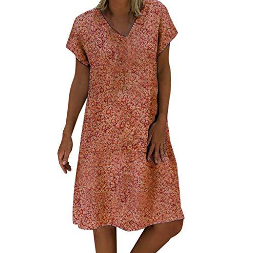 Lenfesh Damen Sommerkleider Günstig Strandkleider Leinenkleid Kleider Kurzarm Knielange Kleider Casual Strandkleid A-Linie Kleid Boho Sommerkleid Baumwolle -