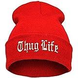 QIANWEIXI Cappello Uomo Cappello Nero da Lettera per Uomo Thug Life Cappelli Lavorati A Maglia Maschile Femmina Inverno Skull