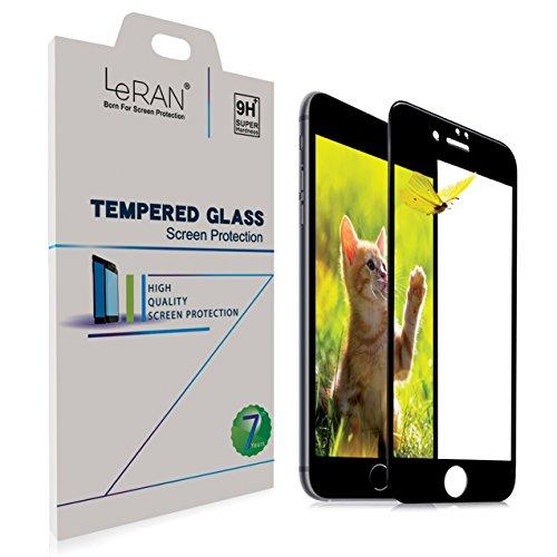 iPhone 7 Protezione per Schermo, LERAN HD piena copertura temperato vetro pellicola proteggi schermo [bordo a bordo protezione] [3d fibra di carbonio bordo] per Apple Iphone 7(noir)