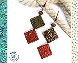 Boucles d'oreilles Capsules de Café Pendantes - Carrés - Bronze - Cuivrées -...