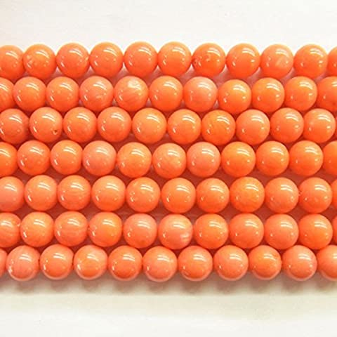 TheTasteJewelry 6mm Round Orange Coral Beads 15 inches 38cm Jewelry Making Necklace Healing - 4434