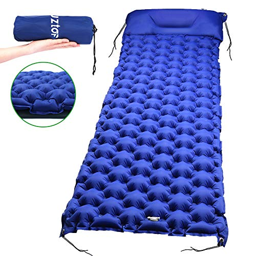 Laluztop Inflatable Sleeping Pad,Ultralight Camping Mattress With Pillow,Portable&Folding Inflating Roll Compact Air Mat Waterproof Lightweight for Outdoor Hiking Travel Hammock Tent Backpacking