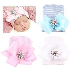 DRESHOW Newborn Hospital Hat Sombrero de bebé para bebé con gorro de guardería Big Bow Nursery (paquete 3)