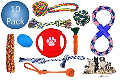 Dog Toys (10 Pack) For Big Dogs – Durable Chew Toys – Strong High-Quality Braided Rope – Interactive and Fun from Vacker Design