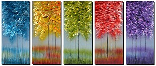 Zeitgenössische-outdoor-halterung (Handgefertigt Metall Wand Kunst mit bunten Baum, Flora Design Kunstwerk für moderne und zeitgenössische Decor, Indoor Outdoor Wand Dekorationen, Messen 5-panels 61x 162,6cm MyArton MWA-1102)