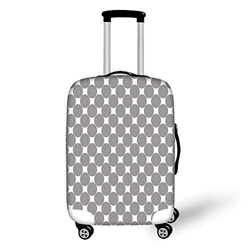 Travel Luggage Cover Suitcase Protector,Geometric Circle Decor,Vortex Spirals Polygonal Rotated Lines Artsy Trippy Chord Design,Grey White,for Travel M Vortex Case Cover