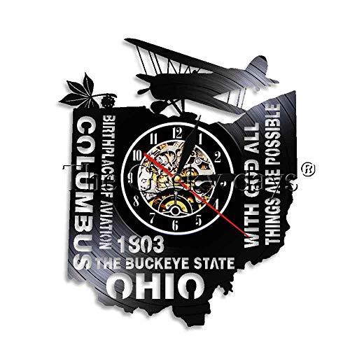 ACYKM Bunte Wanduhr aus Vinyl 1 Piece USA Die Buckeye State Ohio Vinyl Wanduhr Geburtsort Luftfahrt Flugzeug Wand Kunst Skyline LED-Licht Columbus City - Ohio State Buckeyes Led