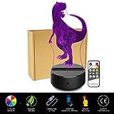 happy event Velociraptor 3D Nachtlicht | Tisch Schreibtischlampe | 7 Farben 3D optische Täuschung Lichter (mit Fernbedienung)