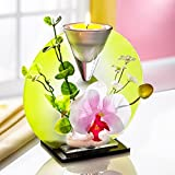 Unbekannt TRI Glas-Deko, Orchidee, Teelicht, Sommerdeko, Asiatische Deko, Glasdeko, Tischdeko, Kunstblumen, Ganzjährig, Kerze, Glas, 16 x 15 x 7 cm - 2