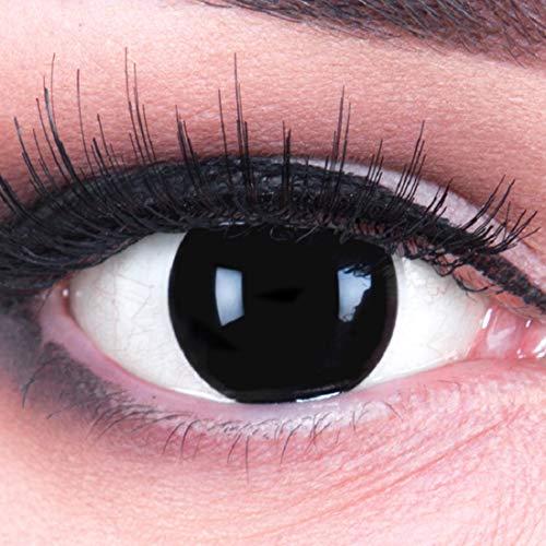 Funnylens 1 Paar farbige schwarze Crazy Fun blind schwarz Jahres Kontaktlinsen.Topqualität zu Halloween und Karneval mit gratis Kontaktlinsenbehälter ohne Stärke!
