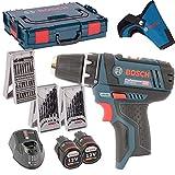 Bosch Akkuschrauber GSR 10,8-2-Li + 2x Akku 2,0AH, Lader, L-Boxx + 3er X-Proline Kombi-Set Holzbohrer / Metallbohrer / Bitsatz