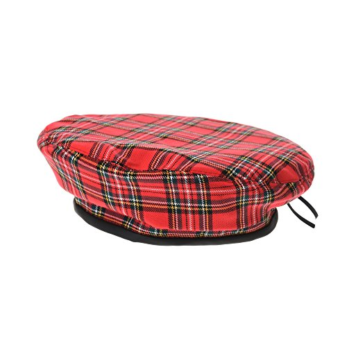 Check Red Snap (WITHMOONS Baskenmützen Barette Beret Hat Tartan Plaid Check Pattern Cool Summer Fabric Leather Sweatband British Style Hat KR3943 (Red))