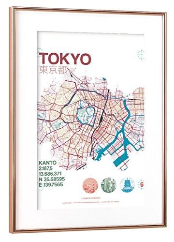 "artboxONE Poster mit Rahmen Kupfer 30x20 cm ""Stadtmotiv Tokyo"" von Tobias Brenner - gerahmtes Poster"