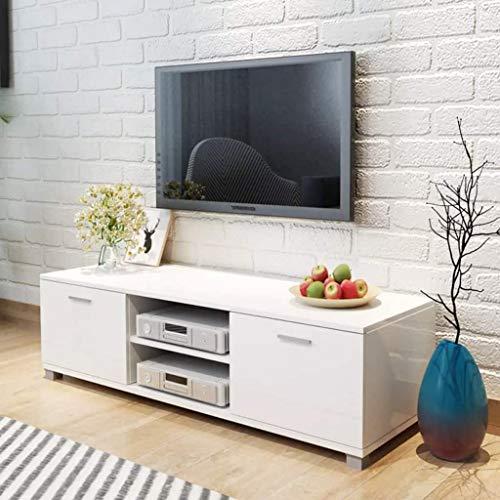Zora Walter MDF TV Schrank Hochglanz Wei? Fernsehtisch Sideboard Fernsehschrank Mit 4 Kabelausg?nge,2 Regale,2 F?Cher mit T¨¹Ren,Size:140x40,3x34,7 cm