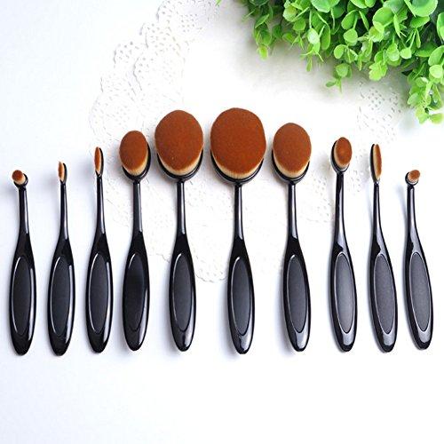 shsyue® Pinceaux de Maquillage Kit brosse à dents, 10pcs ovale Pinceau Maquillage Professionnel Pour Visage et Yeux