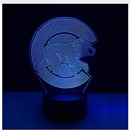 Led Wohnkultur Nachtlicht Schlafzimmer Acryl Baseball Stimmung Schlaf 3D Tier Bär Form Beleuchtung Bunte Tischlampe Sport Fans Licht Box Kindertagsgeschenke