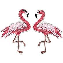 Meatilk 2pz Flamingo de gran tamaño Termoadhesivos Parche Costura Bordado Adhesivo para Ropa