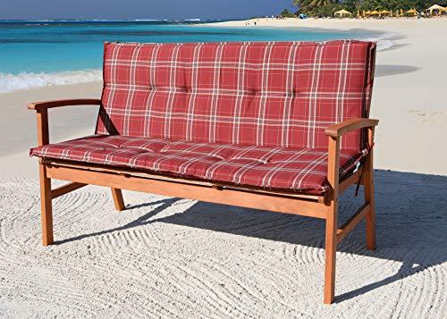 GRASEKAMP Qualität seit 1972 Auflage Rubinrot für Gartenbank 150cm Rio Grande Bank Gartenmöbel -